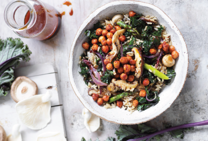 Recipe: Kale and mushroom rice bowl